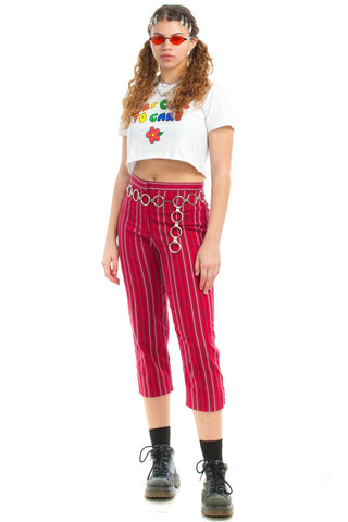 Vintage 90's Berry Cute Striped Trousers - M