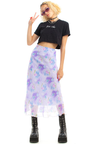 Vintage 90's Lilac Sheer Maxi Skirt - One Size Fits Many