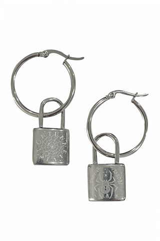Web & Widow Lock Hoop Earrings