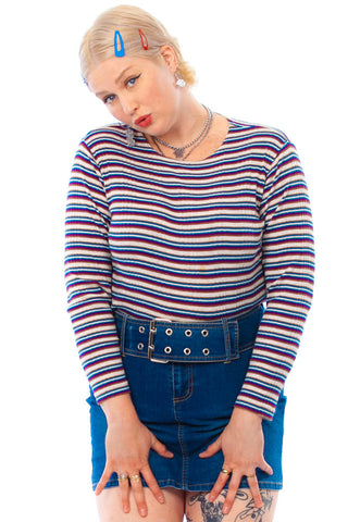 Vintage 90's Berry Stripe Rib Knit Longsleever - One Size Fits Many