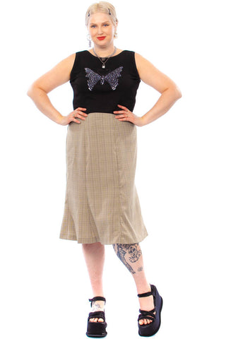 Vintage 90's Black & Tan Plaid Midi Skirt - 3X