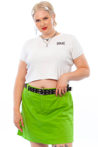 Vintage Y2K Key Lime Stretch Mini Skort - 2X