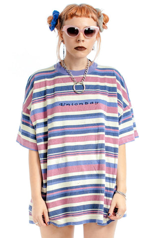 Vintage 90's Worn in Unionbay Striped Tee - One Size Fits Many
