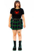 Weetzie Green Plaid Zip-Pleat Mini Skirt
