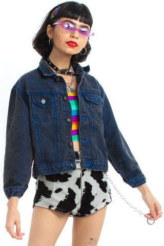 Vintage 90's True Blue Shrunken Denim Jacket - XS