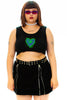 Electric Web Embroidered Crop Tank