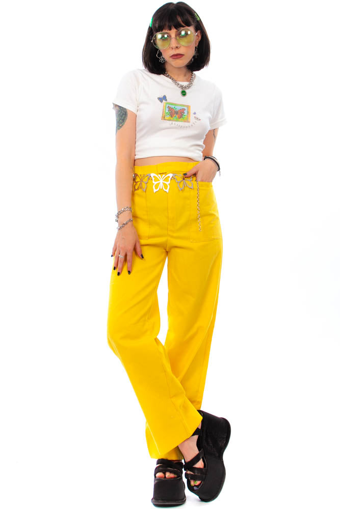 Vintage 70's Mellow Yellow Wide-Leg Pants - L