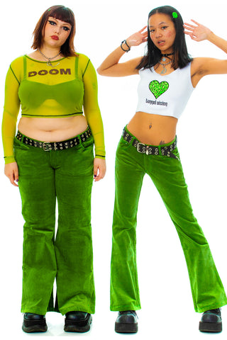 Kelly Green Corduroy Flares