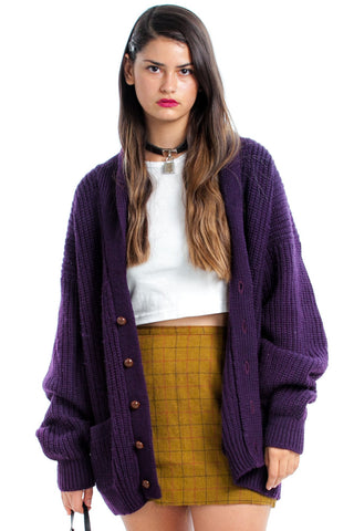 Vintage 90's Berry Wool Chunky Knit Cardigan