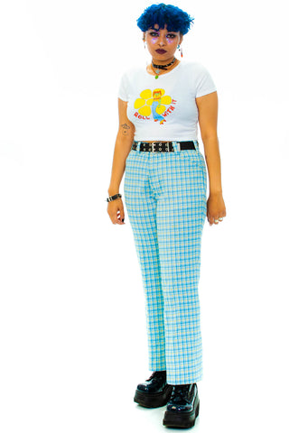 Vintage 70's Baby Blue Plaid Slacks - L