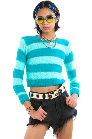 Vintage Y2K Teal Fuzzy Knit Striped Sweater - One Size Fits Many