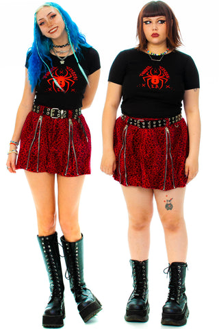 Weetzie Red Cheetah Zip-Pleat Mini Skirt