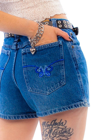 Vintage Y2K Butterfly Back Pocket Denim Shorts - XS/S