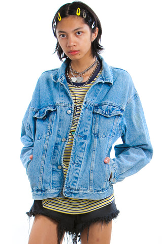 Vintage 90's Thrasher Distressed Denim Jacket - One Size Fits Many