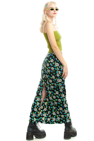 Vintage 90's Retro Pop! Daisy Square Maxi Skirt - M