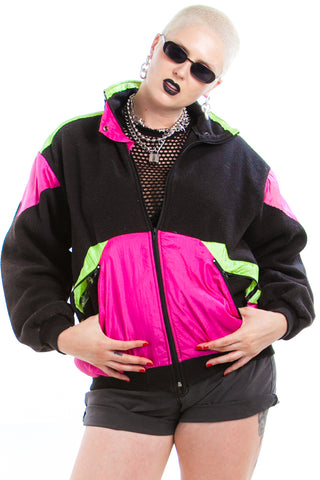 Vintage 80's Fleece Breaker Combo Attack Zip-Up - XL/2X/3X