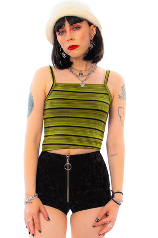 Vintage 90's Avocado Green Striped Tank Top - One Size Fits Many