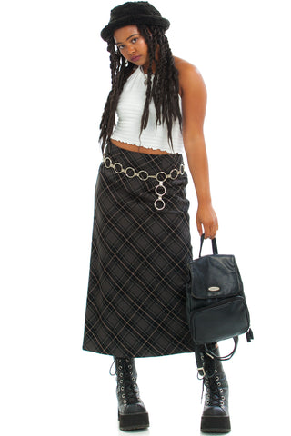 Vintage 90's Grey Skies Plaid Maxi Skirt - M