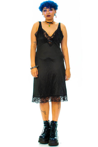 Vintage 90's Black Slip Dress - M