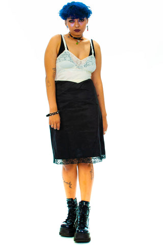 Vintage 80's Black & White Slip Dress - S