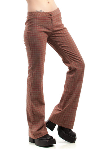 Vintage 90's Cherry Mocha Swirl Plaid Trousers - XS/S