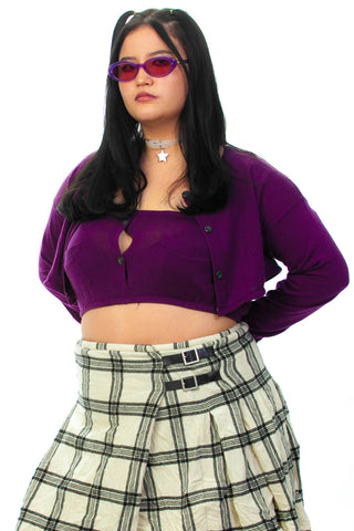 Vintage Y2K Deep Purple Tube Top/Cardigan Set - M/L