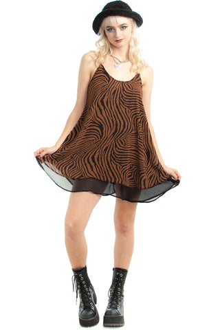Vintage 90's Layered Up Tiger Mini Dress - XS/S/M