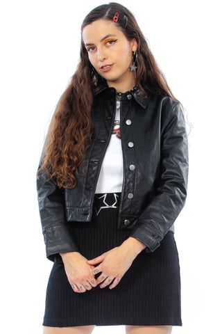 Vintage 90's Genuine Leather Trucker Jacket - S/M