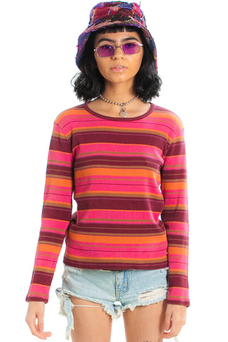 Vintage 90's Cranberry Tangerine Striped Top - One Size Fits Many
