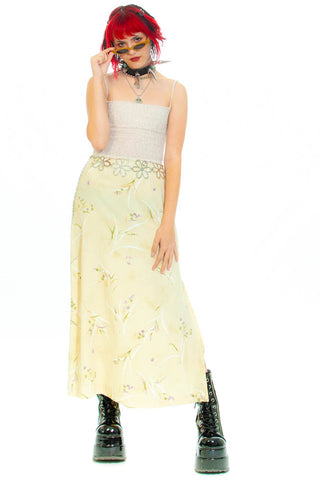 Vintage 90's Pale Yellow Lilac Maxi Skirt - XS