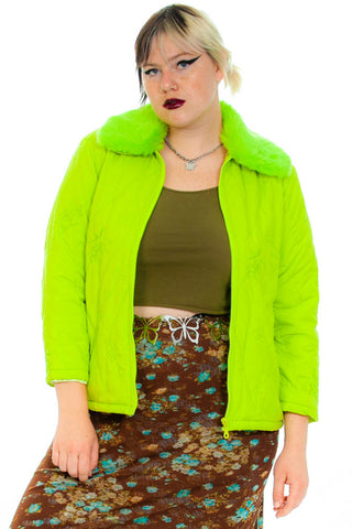 Vintage 90's Key Lime Cyber Granny Jacket - L/XL