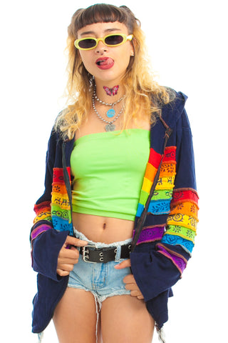 Vintage 90's Rainbow Beach Rave Hoodie - One Size Fits Many
