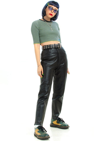 Vintage 90's Leather Mom Jeans - S