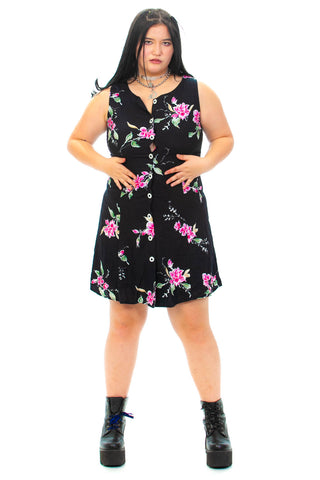 Vintage 90's Black Floral Mini Dress - M