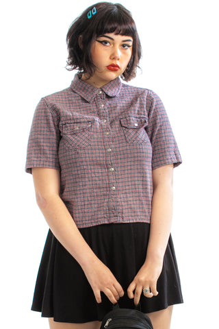Vintage 90's School Daze Plaid Snap-Up Top - M