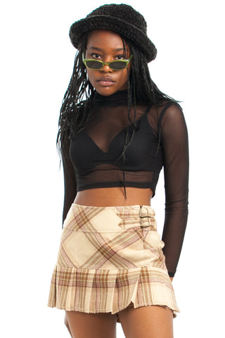 Vintage Y2K Wool Girl Pleated Mini Skirt - M/L