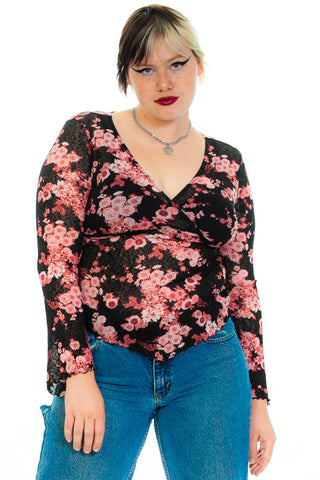 Vintage 90's Pink Floral Fairy Top - XL