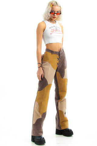 Vintage 90's Does 70's Genuine Suede Mila Flares - M