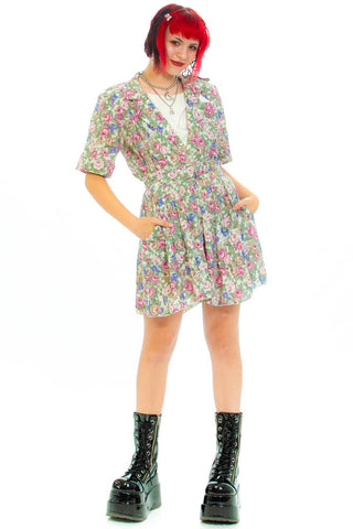 Vintage 80's Ally Retro Dollie Floral Dress - S
