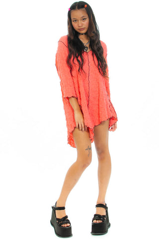 Vintage Y2K Neon Salmon Exposed Seam Mini Dress - XS/S