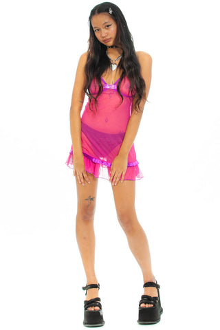 Vintage Y2K Hot Pink Lingerie Mini Dress - XS/S