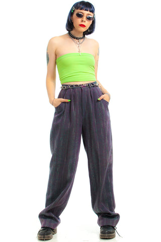 Vintage 80's Deadstock Teal & Purple Pleated Trousers - S