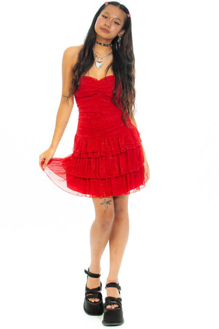Vintage Y2K Red Glitter Rose Mini Dress - XS/S