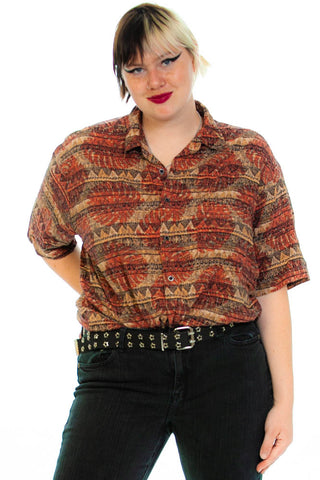 Vintage 90's Natural Issue Button-Front Shirt - 3XL