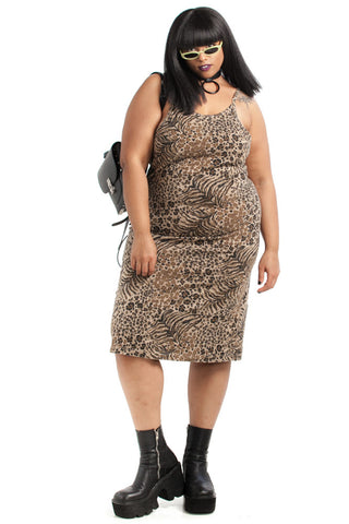Vintage 90's Change Yer Spots Leopard Bodycon Dress - XL/2X