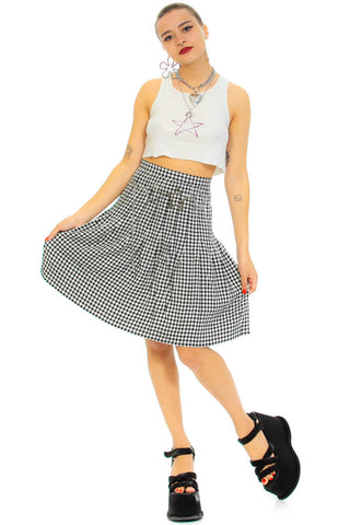 Vintage 80's Gingham Check Pleated Skirt - XS