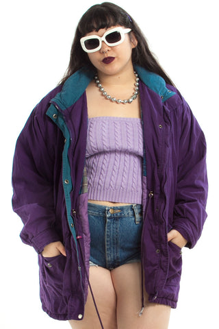 Vintage 90's Flannel-Lined Purple-xed Jacket - XL