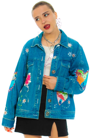 Vintage 90's Heart Patch Denim Jacket - One Size Fits Many