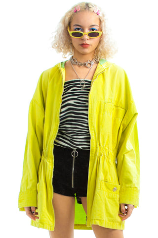 Vintage 80's Versace Neon Lemon-Lime Hooded Jacket - XS/S