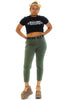 Vintage 90's Olive Stretch Mom Jeans - M/L